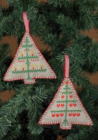 Embroidery christmas trees ornaments. Permin 21-3245.