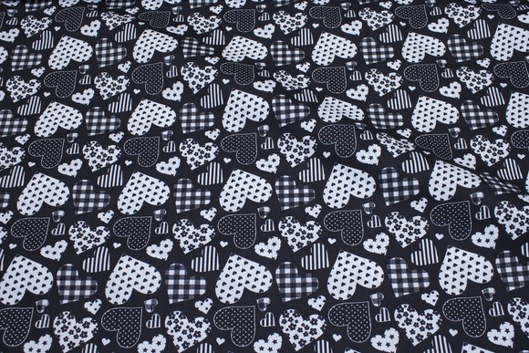 Black cotton with hearts