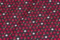 Black patchwork-cotton with small 1 cm red apples.