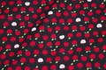 Black patchwork-cotton with small 1 cm red apples