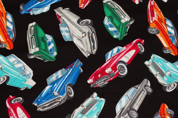 Black patchwork cotton with veteran-race-cars