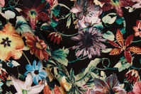 Black viscose-mousselin with green and bordeaux flowers