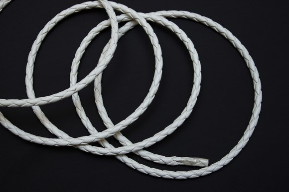 Braided cord white imitated leather 4mm