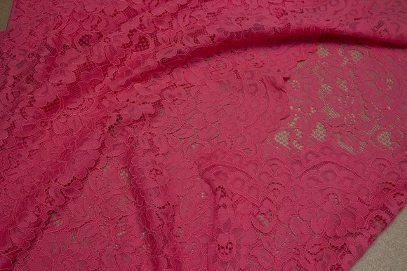 Coral-color dress-lace-fabric with scallops in both sides