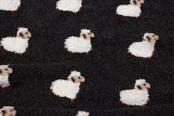 Dark grey-brown bouclé-fleece with felted sheep