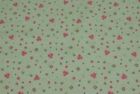 Dotted light green cotton with pink roses