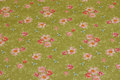 Light olive-green cotton with soft red flowers.