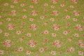 Light olive-green cotton with soft red flowers