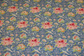 Medium-blue cotton with soft red flowers