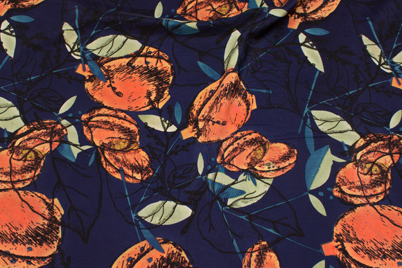Navy, lightweight micro-polyester with coral fruits