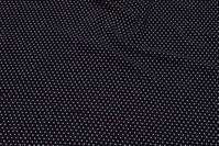 Navy viscose mousselin with white mini-dots