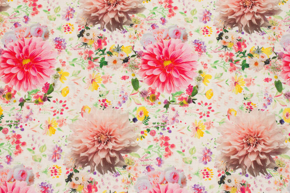 Off white patchwork cotton with pink flowers