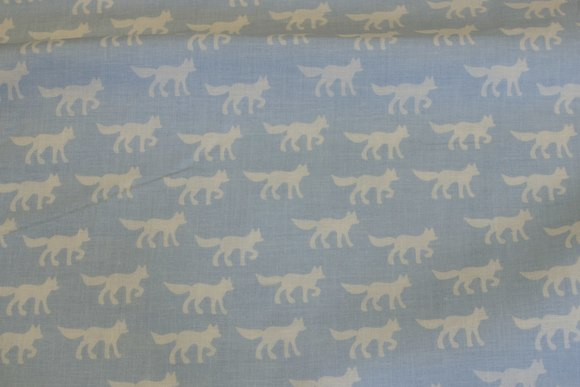 Organic cotton, light blue, with foxes