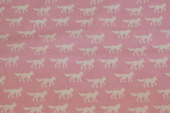 Organic cotton, light red, with foxes