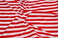 Red-white cotton-poplin with 2.2 cm wide stripes