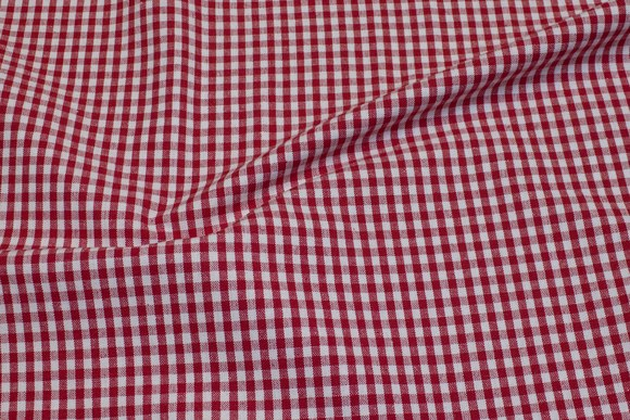 Ruggedly woven reuse-cotton, red and white, 0.5 cm checks