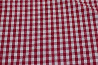 Ruggedly woven reuse-cotton, red and white checks, 1 cm checks
