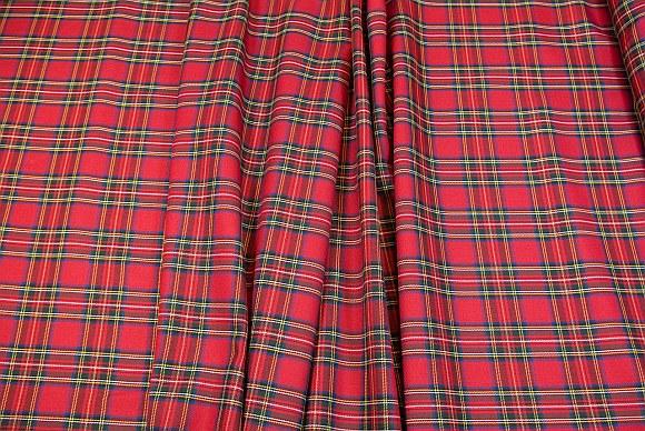 Tartan checker fabric in red-blue-yellow