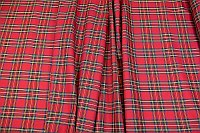 Tartan checker fabric in red-blue-yellow