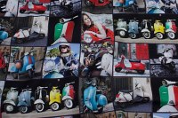 Vespa-scooters and Italy-theme on unique digital print