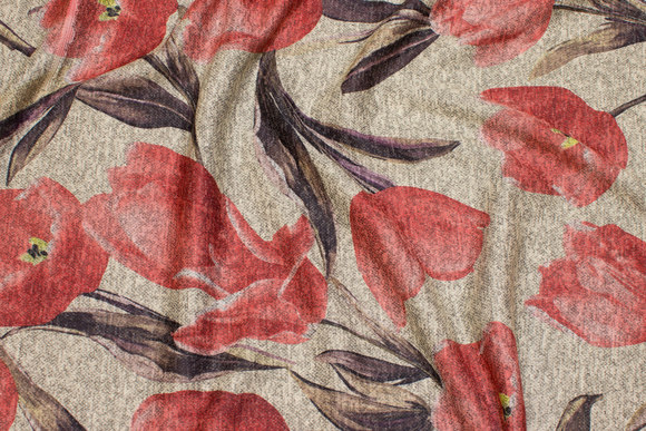 Winter-jersey in light sand with coral tulips
