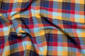Checked cotton in navy, red and yellow