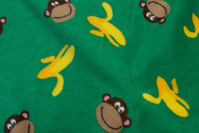 Grass green fleece with monkies and bananas