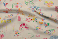Lightweight, off-white cotton with cute kids drawings