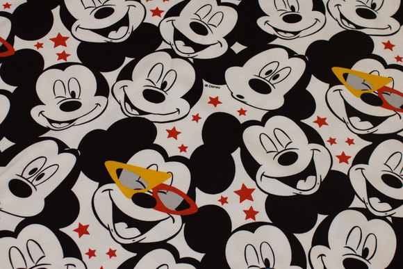 White and black cotton-jersey with fun Mickey Mouse heads