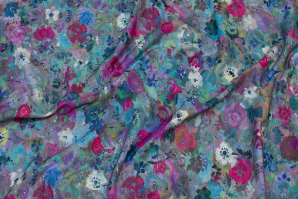 Cotton-jersey in blue and pink nuances