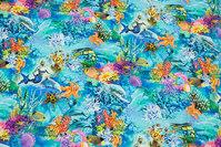 Turqoise cotton-jersey with hav-motifs, mermaids, fish etc..