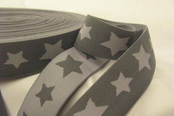 Elastic grey stars 3cm