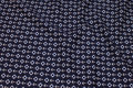 Navy blue, firm cotton with small ancors and life vests