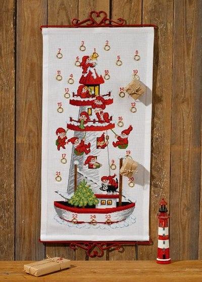 Christmas calendar with Santa lighthouse