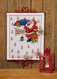 Permin 34-7256. Christmas calendar with elf and owl.