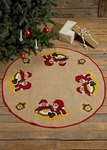 Permin 45-7268. Christmas tree skirt with elfs with pourage.