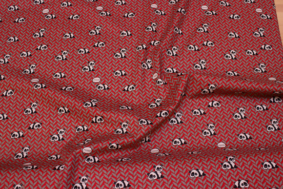 Red-patterned cotton with small pandas