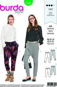 Burda 6358. Snug-fit pants with slim legs.