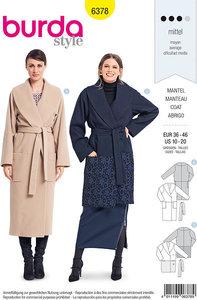 Burda 6378. Elegant coat with wrap and waist bind.