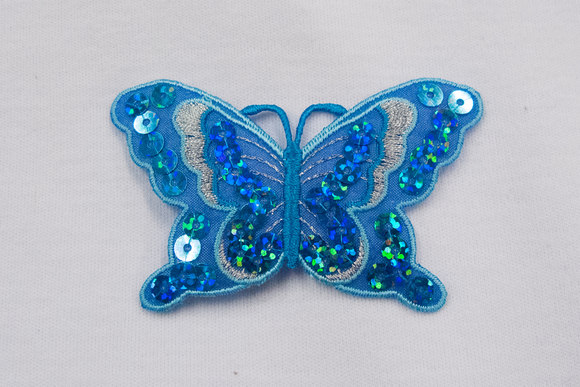 Butterfly patch aqua 7x4cm