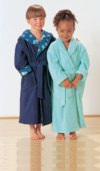 Bath robe, very wide. A with hood, terry-towelling outside, cotton fabric inside. B with shawl collar