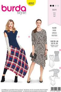 Dress with slanted cut. Burda 6352.