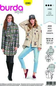 Parka jacket-coat with garnish and pockets. Burda 6360.