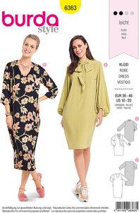 Long dress with neckline-variations. Burda 6363.