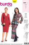 Burda 6365. Dress with narrow silhouette and posssible v-neck.