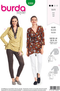 Blouse with loose v-neck, pleats in back. Burda 6369.
