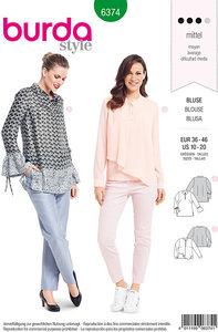 Blouse-sweatshirt with sleeve width and slanted base. Burda 6374.