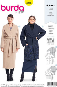 Elegant coat with wrap and waist bind. Burda 6378.