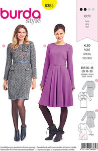 Dresses, knee-long, with waist and some pockets. Burda 6385.