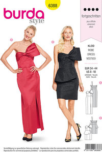 Evening and party dresses with bare skuldre. Burda 6388.